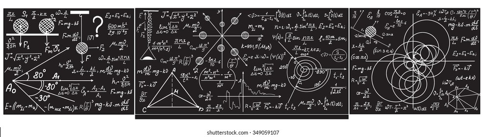 Vector grey chalkboard with handwritten with chalk formulas, equations, figures