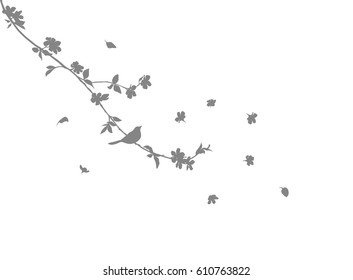 vector grey cherry tree branch silhouette with bird and flowers