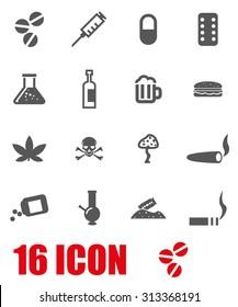 Vector grey drugs icon set.