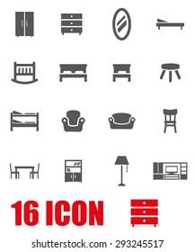 Vector grey furniture icon set.