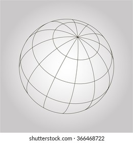 Vector grey globe segments sign without fill