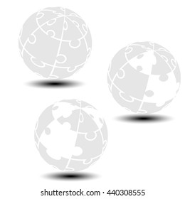 Vector grey globe symbol created from puzzle.  Monochrome simple silhouettes. Symbol alliance of people in the world.