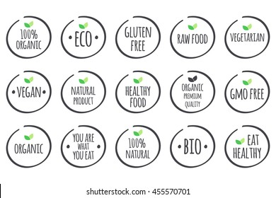 Vector grey healthy eating logo set with green leaves, labels for food.