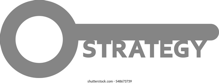 Vector grey key with word strategy.