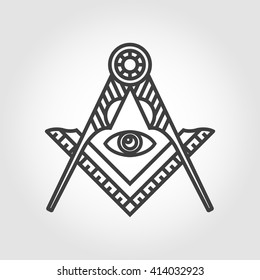 Vector grey masonic freemasonry emblem icon on grey background. Masonic square compass God symbol. Trendy alchemy element. Religion philosophy, spirituality, occultism, chemistry, science, magic