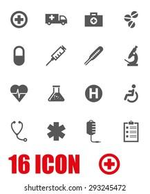 Vector grey medical icon set.