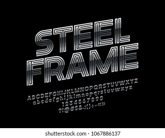 Vector Grey Metallic Sign Steel Frame. Rotated abstract Font. Maze Design style Alphabet Letters, Numbers and Symbols