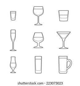 vector grey outline alcohol glasses icon set