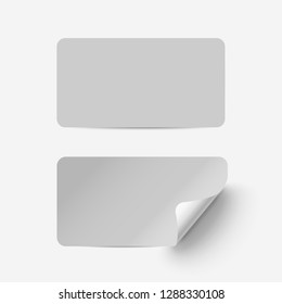Vector grey realistic paper adhesive stickers with curved corner on transparent background.