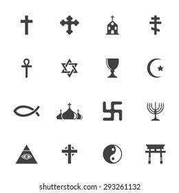 Vector grey religion icon set on white background
