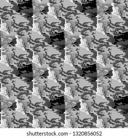 Vector grey seamless camouflage military background. Dark abstract seamless camouflage pattern.
