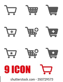 Vector grey shopping cart icon set.