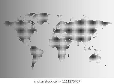 Vector of Grey World Map in Dotted Style