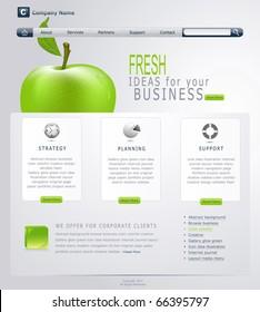 Vector Grey-green website with apple