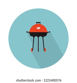 vector grill icon. Flat illustration of barbecue. barbeque food isolated on white background. outdoor picnic sign symbol