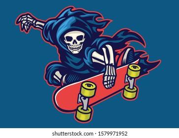 vector of grim reaper skateboarding jump doing stunt trick