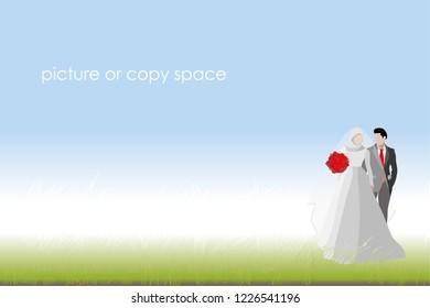 vector groom and bride standing on outdoor background