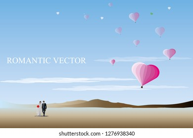 vector groom and bride standing on blue sky and pink balloons background