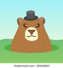 Vector ground hog day holidays. Ground hog character cartoon. Ground hog funny cute design card. Ground hog template invitations.