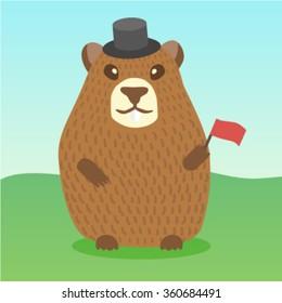 Vector ground hog holidays character cartoon funny cute design card template invitations