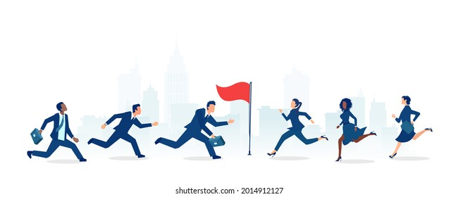 Vector of a group of businessmen and businesswomen running towards the career goal, competing