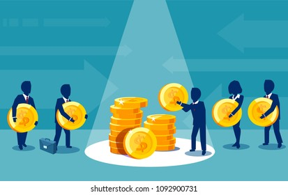 Vector of group of businesspeople paying money making financial contributions