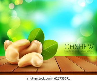 Vector group of cashew nuts lying on a wooden table on the background of the sky and green foliage