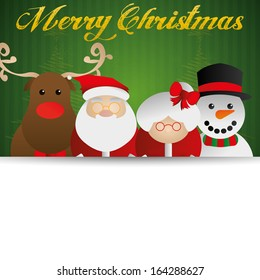 Vector Group Of Cute Christmas Characters Isolated