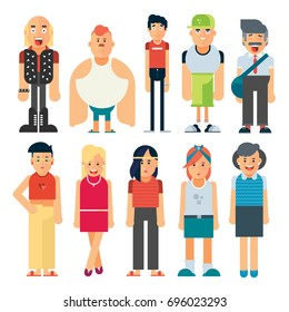 Vector group of different types of people including man and women standing on white background. Flat design people characters. Geometric people.