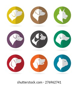 Vector group of dog in the circle on white background