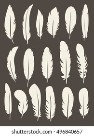 Vector group of feather. Silhouette icons