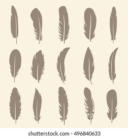 Vector group of feather. Silhouette simple icons