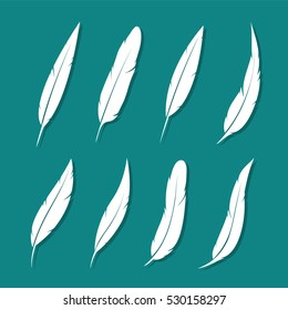 Vector group of feather white on blue background.