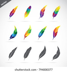 Vector group of feathers icon design on white background. Easy editable layered vector illustration.