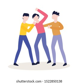 Vector group of male characters fighting punching each other. Angry men expressing violence and aggression. Pissed off people in conflict situation. Isolated illustration.