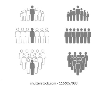Vector group of people - vector set with isolated working team or people group - silhouette and outline