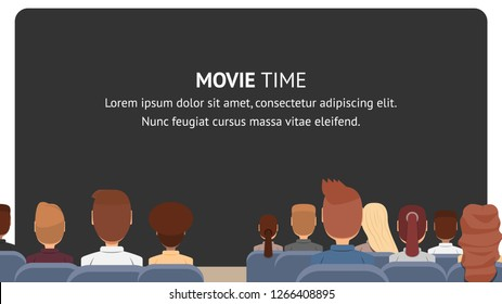 Vector Group People Sitting in Cinema. Movie Time. Banner Illustration Men and Women Waiting Watch Movie. Presentation an Educational Video. Modern Cinema Educational Plan. Black Screen with Caption