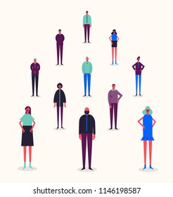 Vector group of people standing on different levels. Stylized businessmen and businesswomen