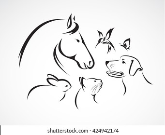 Vector group of pets - Horse, dog, cat, bird, butterfly, rabbit isolated on white background., Pet Icon Image, Pet Icon, Vector pet for your design.