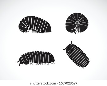 Vector of group of pill millipede worm(Oniscomorpha) isolated on a white background. Worm icon or logo., Glomerida. Insect. Animal.