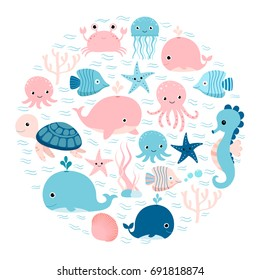 Vector group of sea animals and underwater creatures in circle shape for greeting cards, backgrounds and children designs