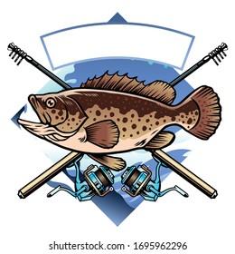 vector of grouper fishing shirt design