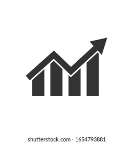 Vector growing bar graph flat icon isolated on a white background. Vector illustration.