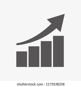 Vector growing graph icon. Financial Report vector icon. White background. EPS 10.