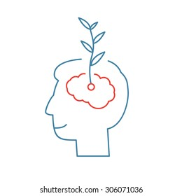 Vector growth mindset skills icon growing plant from the brain | modern flat design soft skills linear illustration and infographic red and blue on white background