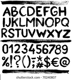 Vector grunge alphabet with letters, numbers and symbols.