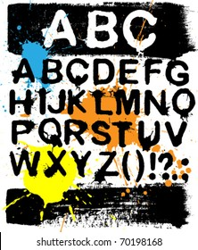 Vector grunge alphabet with splashes and brush strokes