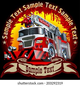 Vector Grunge background with Cartoon Fire Truck. Eps-10 separated by groups and layers for easy edit