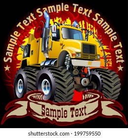Vector grunge background with cartoon monster tow truck. One-click repaint