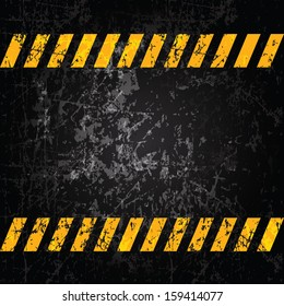 Vector grunge background with caution stripes and copy space